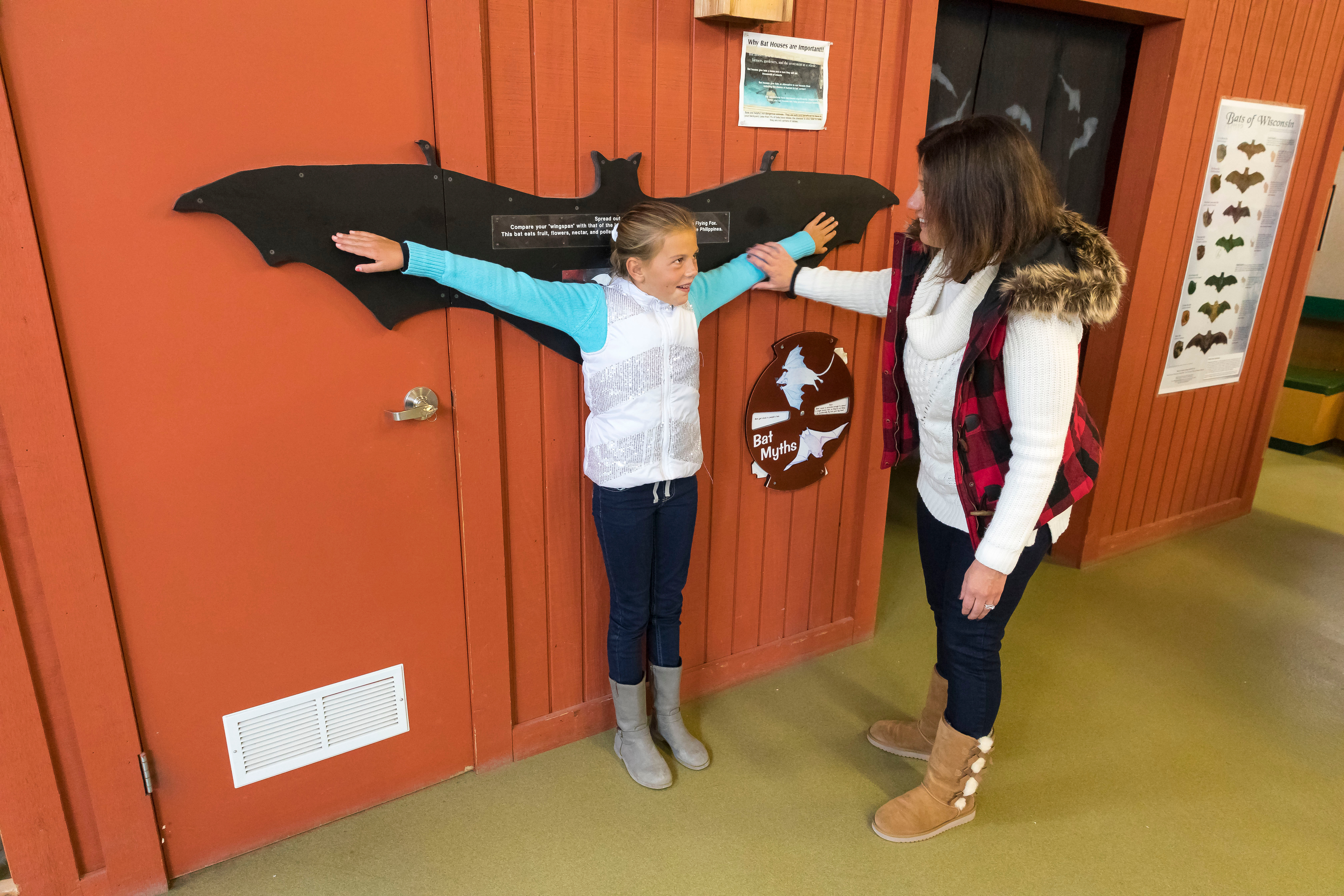 2 people looking at bat barn display in Ledge View Nature Center