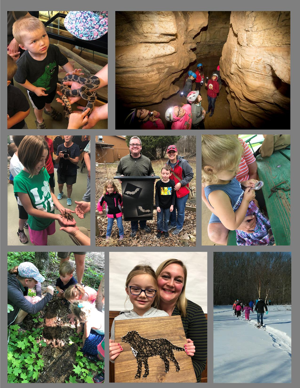 A collage of pictures of people doing different programs at Ledge View Nature Center.