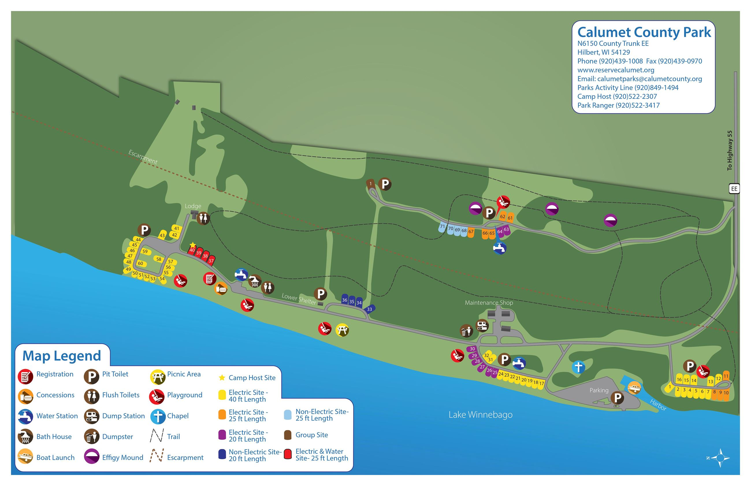Color map of the campground at Calumet County Park