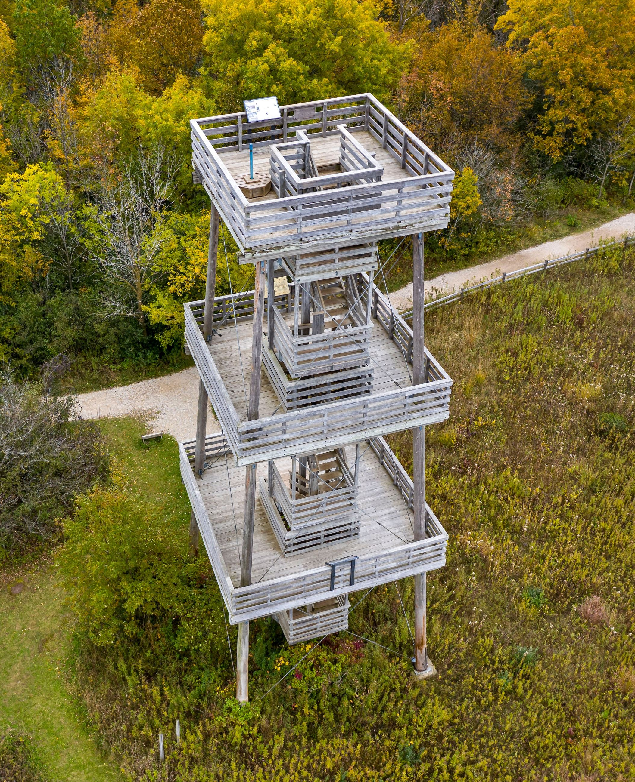 A 60 foot wooden observation tower shown from above.
